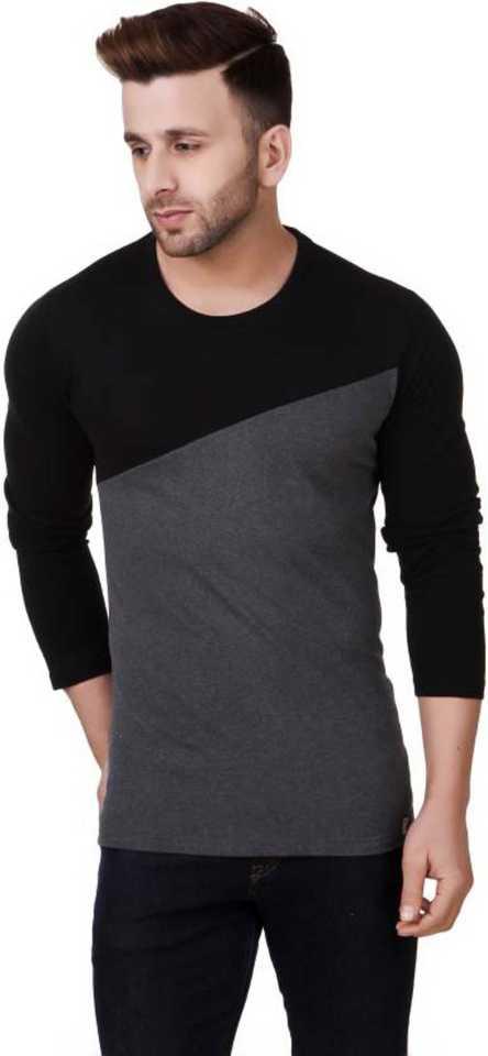Solid Mens Round Neck Black T-Shirt