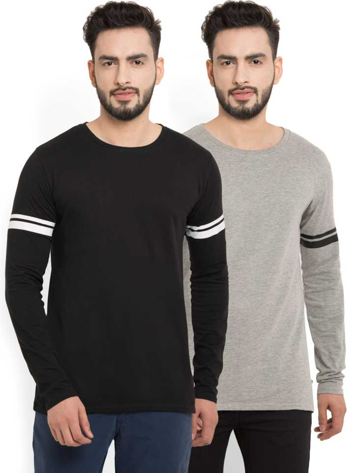 PerfectFit Solid Men Round or Crew Black, Grey T-Shirt  (Pack of 2)