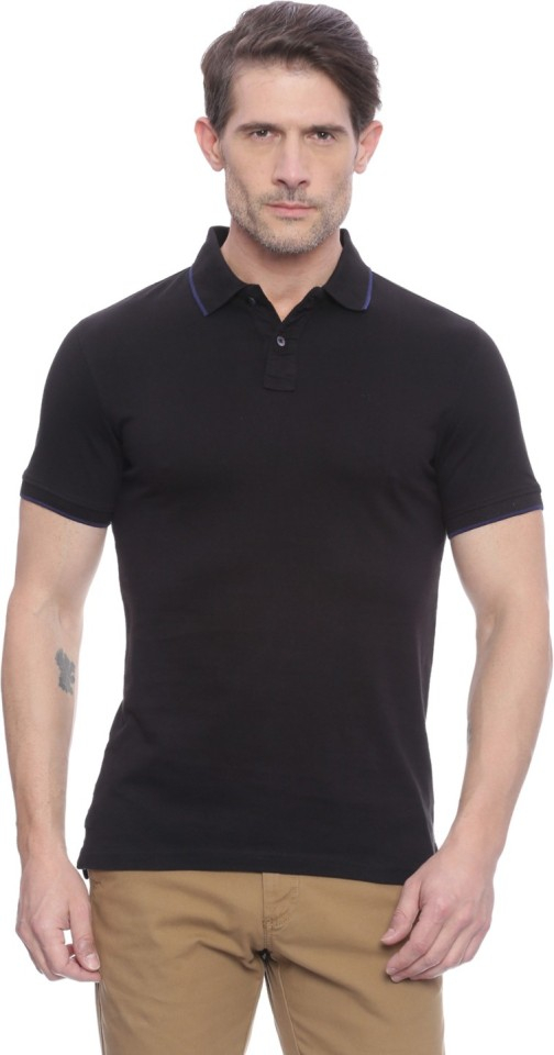 Peter England Solid Men Peter Pan Collar Black T-Shirt