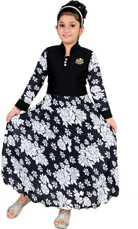Girls Maxi/Full Length Party Dress  (Black, Full Sleeve)#JustHere at Flipkart ₹341