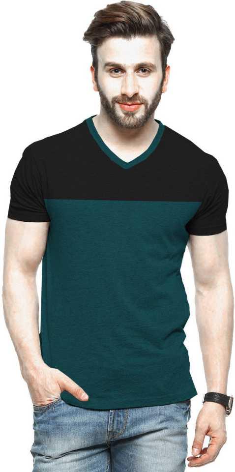 V-neck Black & Dark Green T-Shirt For Men