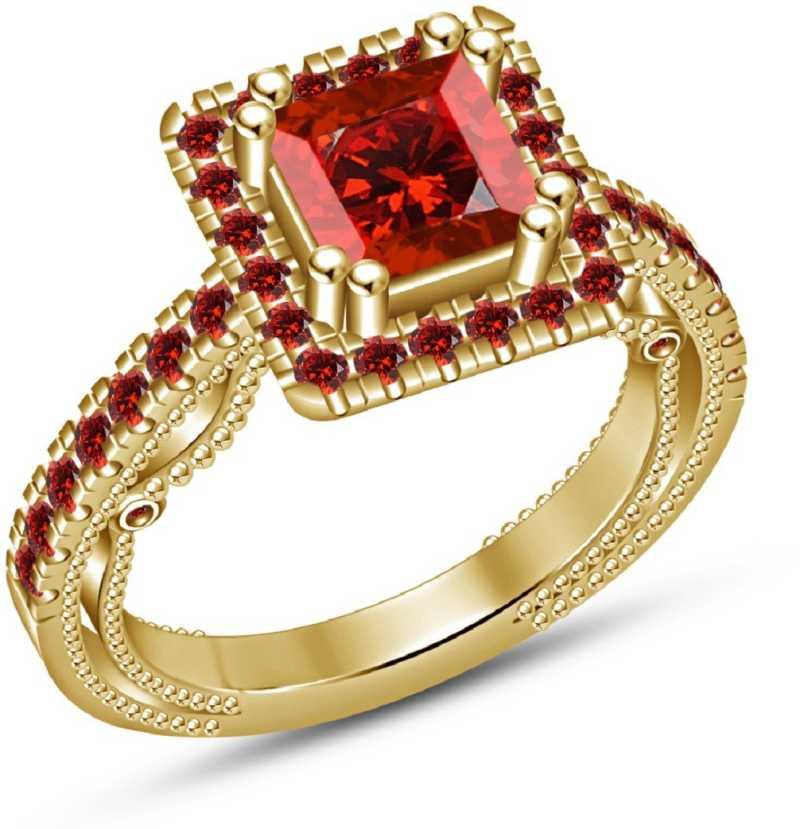 71116af538161 Kirati Red Garnet Priencess Cut 14k Gold Plated 925 Sterling Silver ...