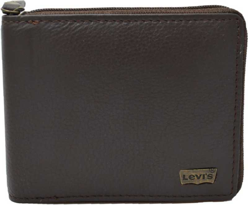 Levi's Men Casual Brown Genuine Leather Wallet   8 Card Slots  Levi's Wallets
