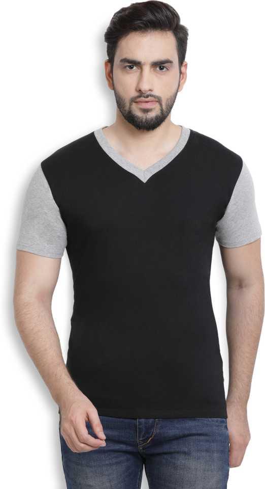 PerfectFit Solid Men V-Neck Black, Grey T-Shirt