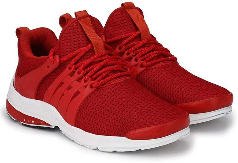 Red Mesh Lace Up Running Shoes