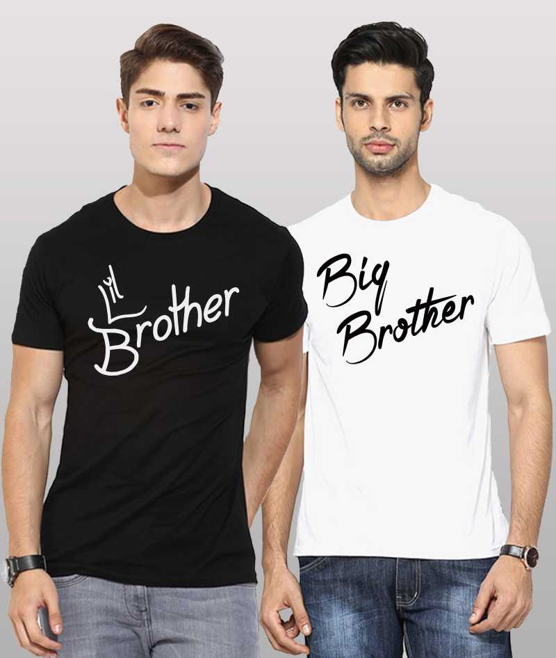 Printed Men Round or Crew Black & White Big Brothers Little Brother combo T-Shirt  (Pack of 2) fashion clothing