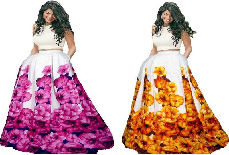 483c4e8dfa Aracruz Floral Print Semi Stitched Lehenga & Crop Top - Buy Aracruz ...