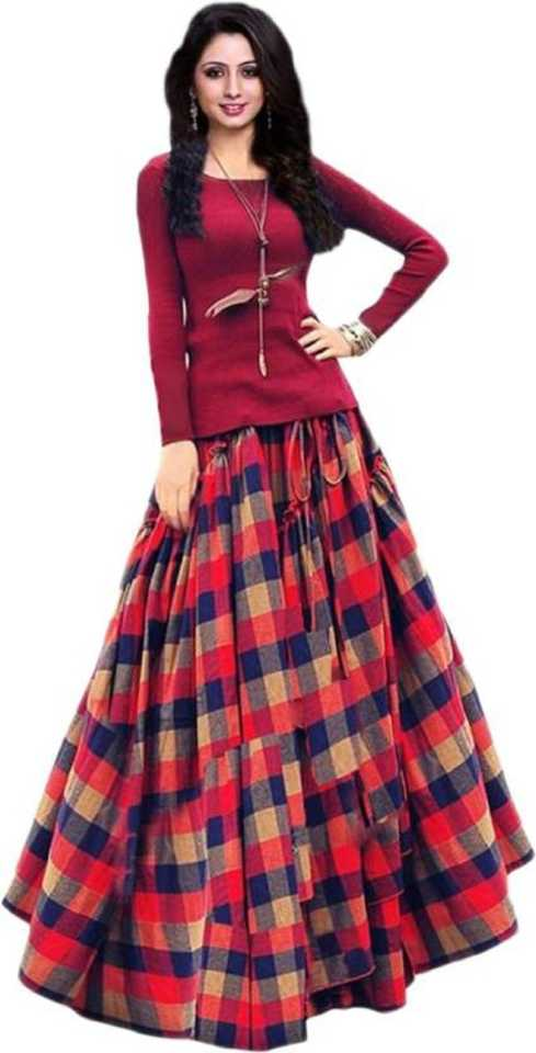 Checkered Semi Stitched Lehenga Choli  (Multicolor) at Flipkart ₹349