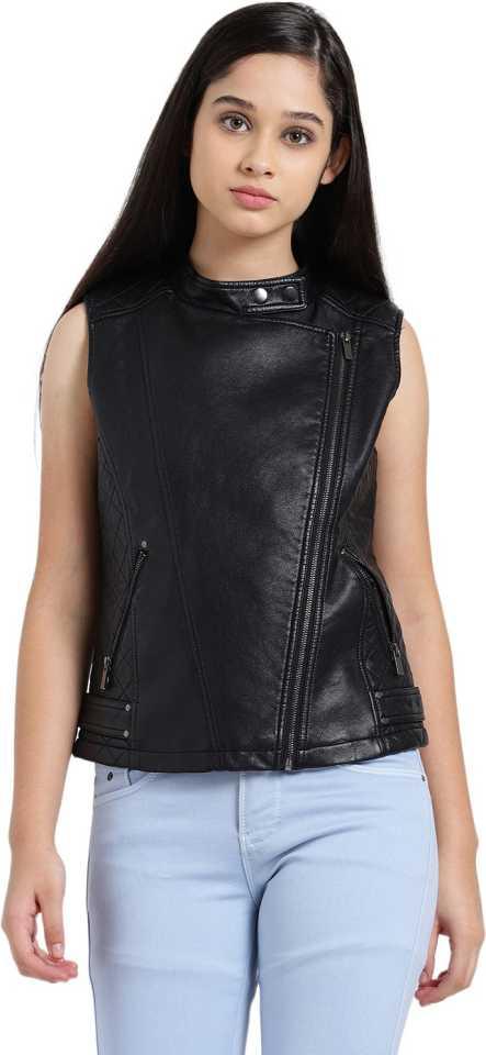 Zink London  Sleeveless Solid Women Riding Jacket