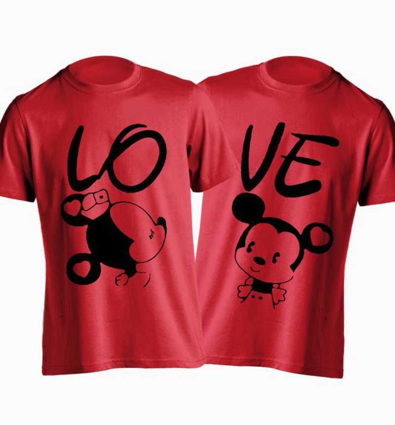 Printed Men & Women Round Neck Red, Black Couple Combo T-Shirt  (Pack of 2) Fashion Clothing