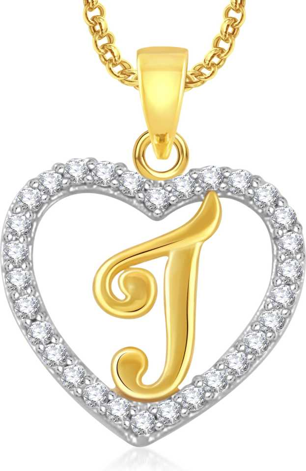 Meenaz J Alphabet Heart Letter J With Chain Love Gifts Jewellery Brass Cubic Zirconia Crystal Alloy Pendant