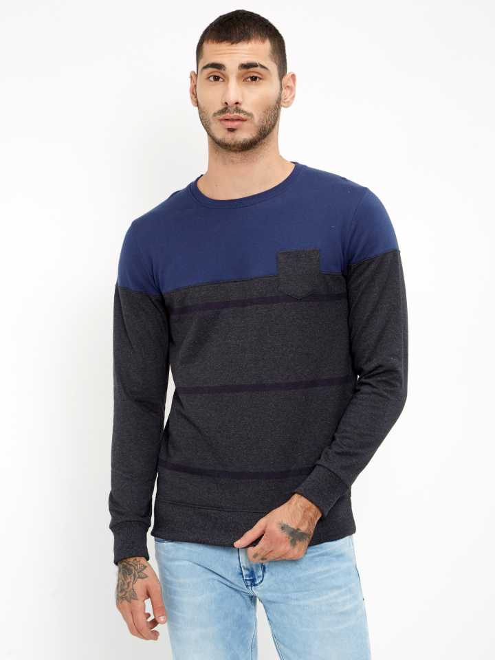 Full Sleeve Self Design Mens Sweatshirt