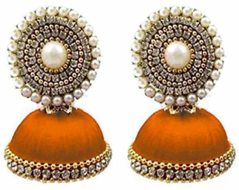 a2e1eefd3 Ailsie Stylish Jhumka Earrings For Women Fashion Treditional Silk Thread  Earring Round Jumki Jummka Earring With White Stone And Gold Ball Chain -  Orange ...