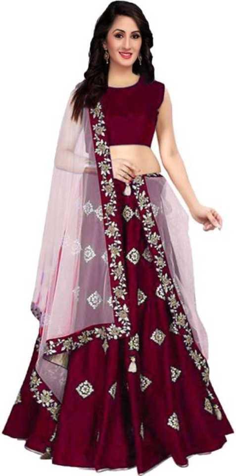 5ae5bb6620 rukhsar fab Embroidered Semi Stitched Lehenga, Choli and Dupatta Set  (Maroon)
