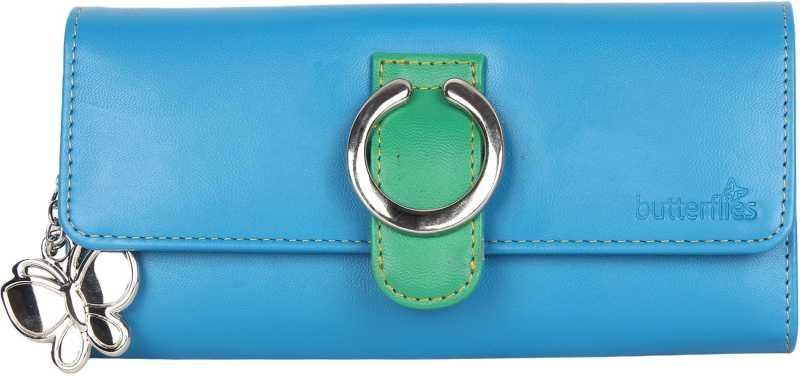 ButterfliesCasual Blue, Green  Clutch  – Regular Size