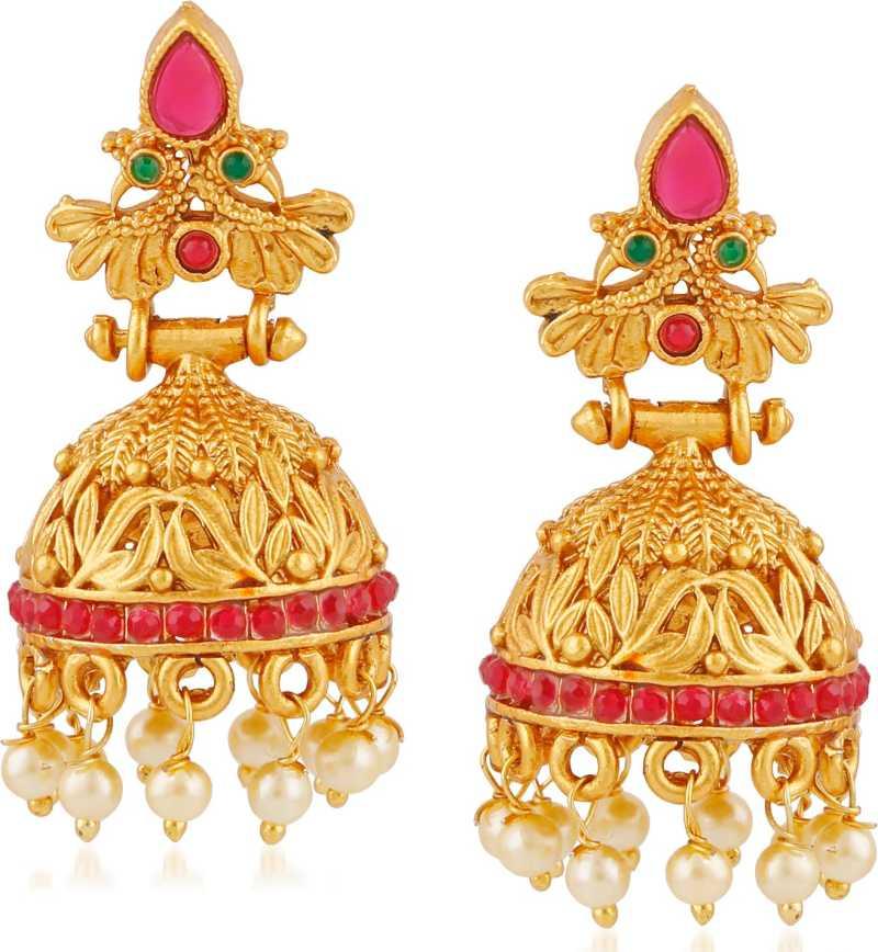 0691d1e3b4 Flipkart.com - Buy Meenaz Temple Jewellery Sets Traditional Matte Gold  Kundan Pearl Stylish Wedding Ruby Green Peacock Jhumka/Jhumki Earrings for  ...
