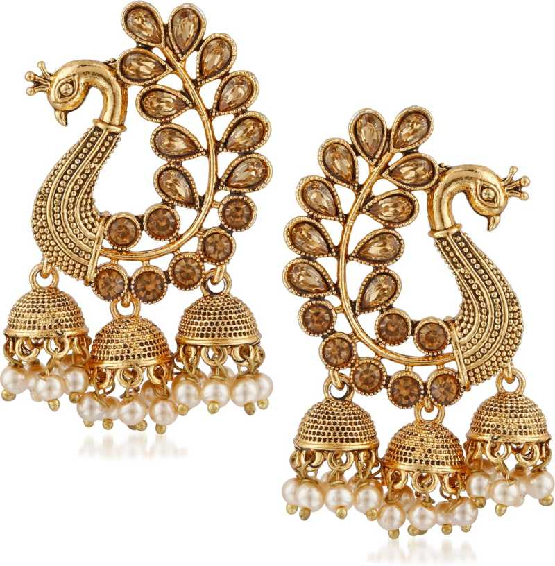 Divastri Bridal Wedding Traditional Gold Pearl Pea Kundan Jhumkas Jhumka Jhumki Earrings For Women S Diamond Alloy Earring