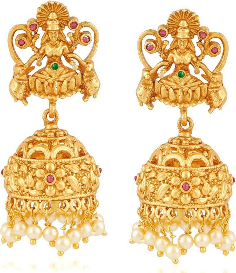 839bc53d5 Flipkart.com - Buy Divastri Temple Jewellery Laxmi Matte Gold Stylish Party  wear Wedding Kundan Jhumka Earrings For Girls Women Pearl Brass, Copper  Jhumki ...