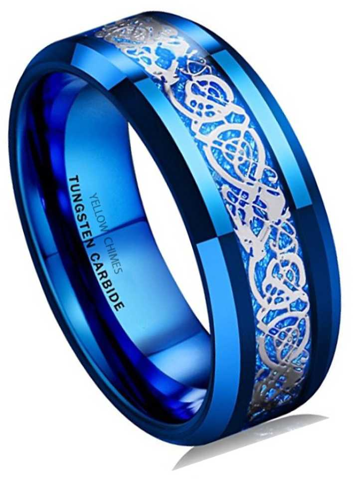Divastri Celtic Inlay Polish Finish Titanium Steel Ring Stainless Steel  Titanium Plated Ring