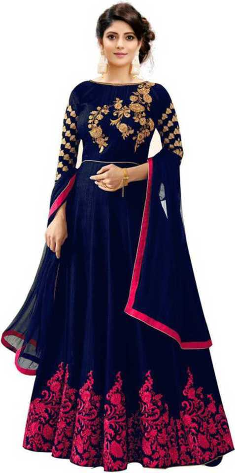 Embroidered Poly Silk, Satin Blend, Cotton Blend Anarkali Gown  (Blue) at Flipkart ₹585