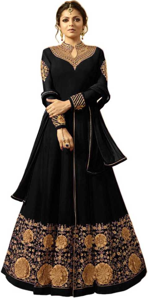 524874ec7a Febadditions Faux Georgette Embroidered, Self Design Semi-stitched Gown,  Salwar and Dupatta Material Price in India - Buy Febadditions Faux Georgette  ...