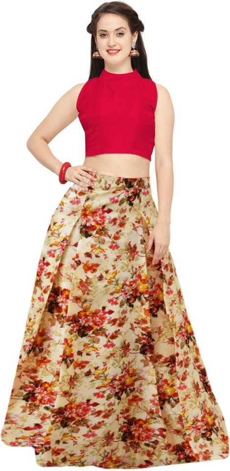 a325a657563 shelvinzas Floral Print Semi Stitched Lehenga   Crop Top (Multicolor)