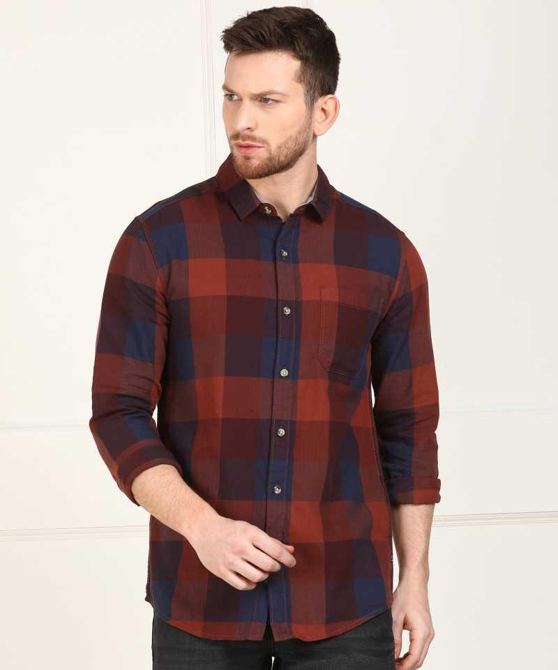 Wrangler 20X Men Checkered Casual Spread Shirt
