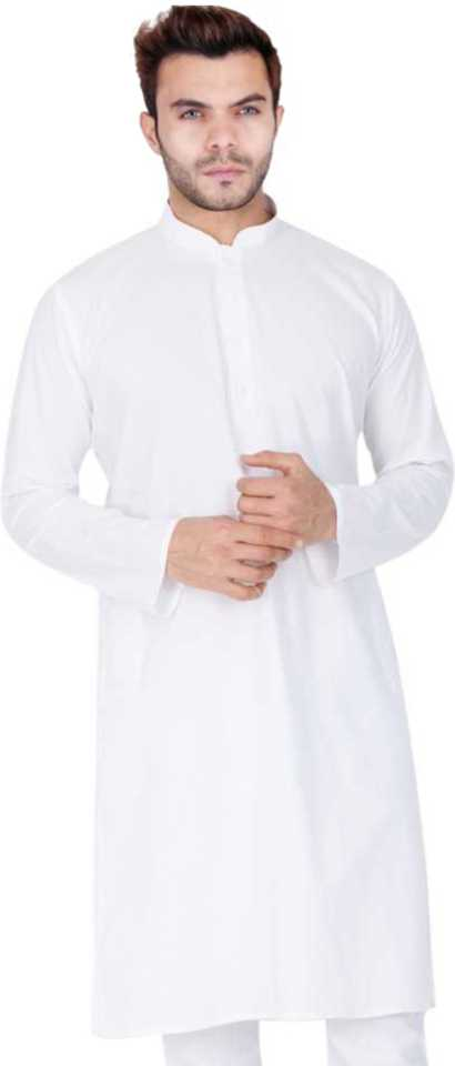 Men's Solid Straight Kurta  (White) at Flipkart ₹299