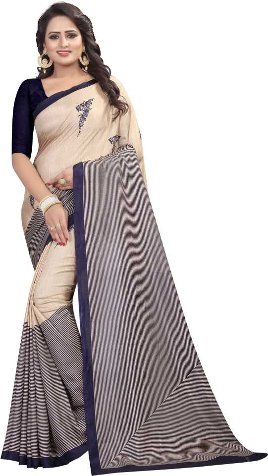 Printed Kalamkari Dark Blue Silk Saree  (Dark Blue) at Flipkart ₹379