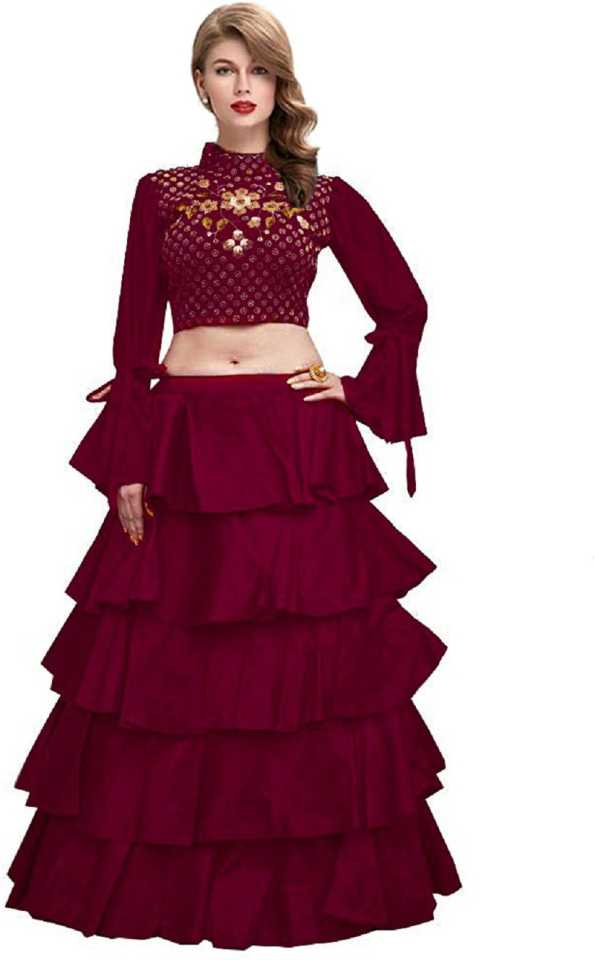 FEXEL Self Design Lehenga & Crop Top