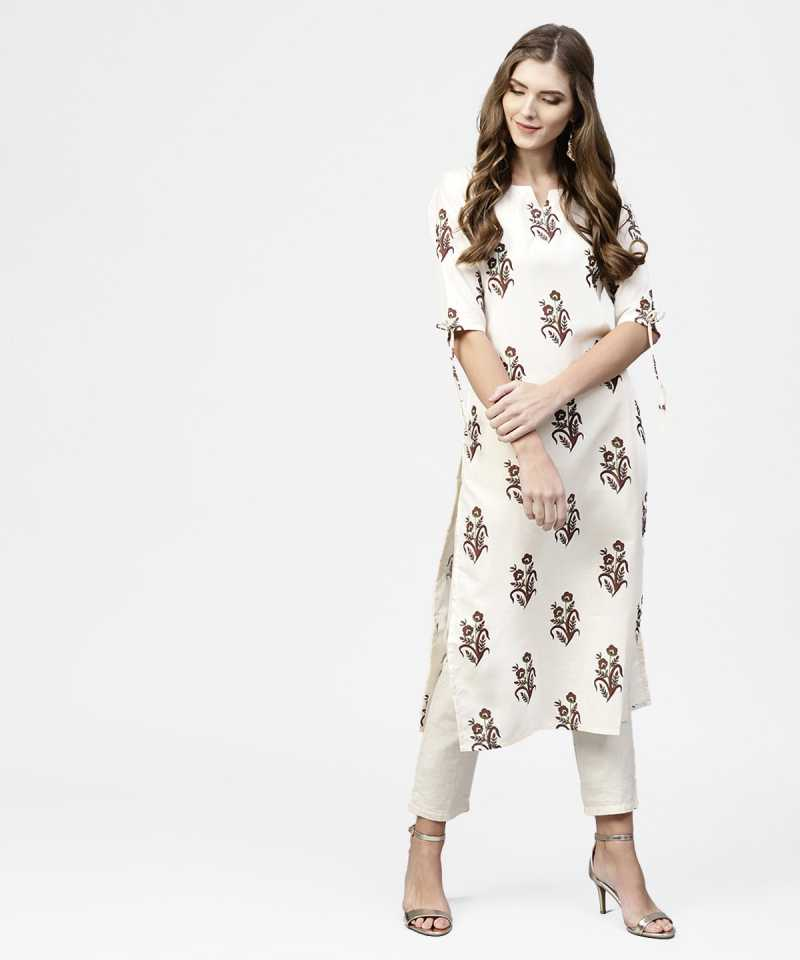 Get 65% Off on Ethnic Wear Libas Kurtis Women Floral Print Straight Kurta White