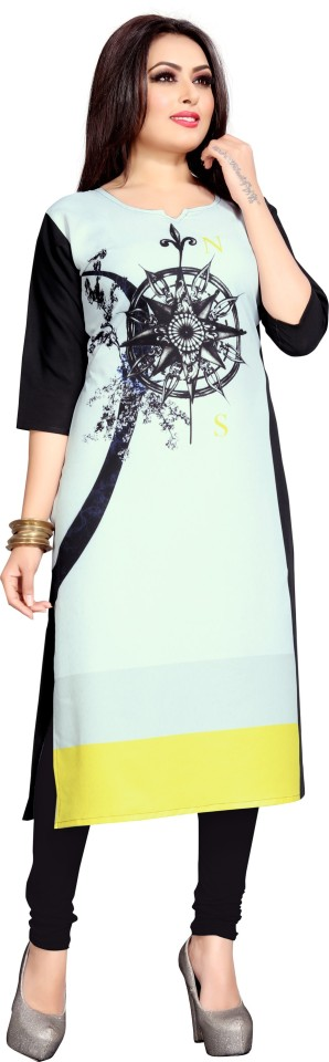 Women Printed Straight Poly Crepe Kurti  (Black) thumbnail