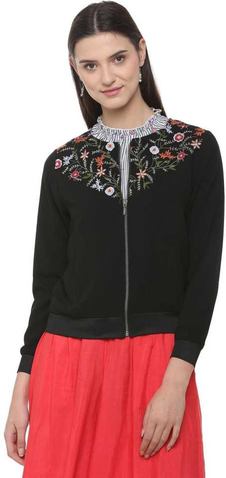 People 3/4th Sleeve Embroidered Women Jacket