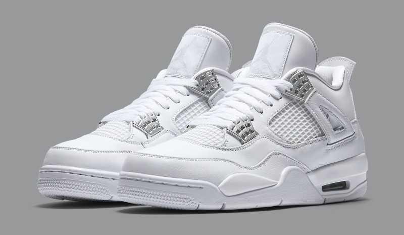 "sale retailer 98646 1fde2 Air Jordan 4 Retro ""Silver 25th Anniversary"" NEW YORK White/Metallic Silver  Basketball Shoes For Men"