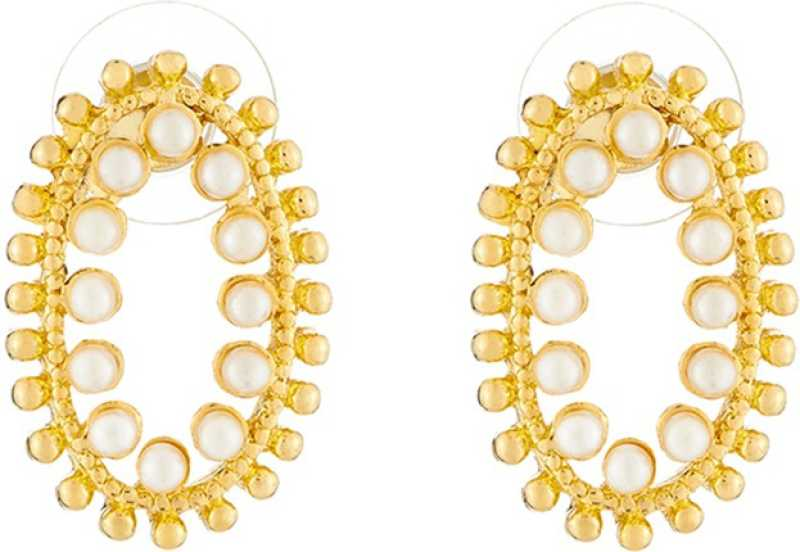 517edb384 Flipkart.com - Buy JewelMaze Gold Plated Pearl Stud Earrings Alloy ...