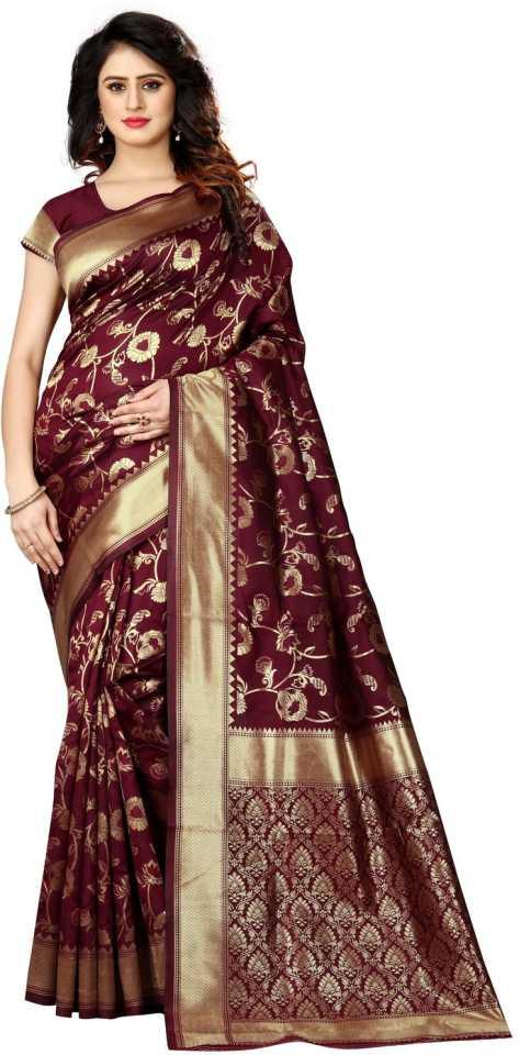 SHOPPERSHOPEE Woven, Self Design Kanjivaram Banarasi Silk,