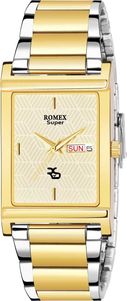 New Classic and Elegant Golden Square Dial with Dual Tone Chain Analog Watch - For Men