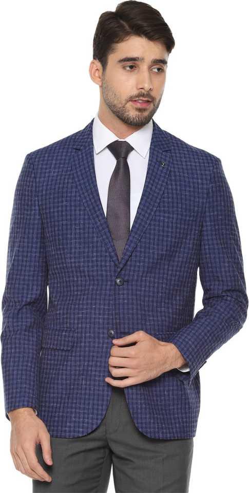 Van Heusen Checkered Single Breasted Formal Men Full Sleeve