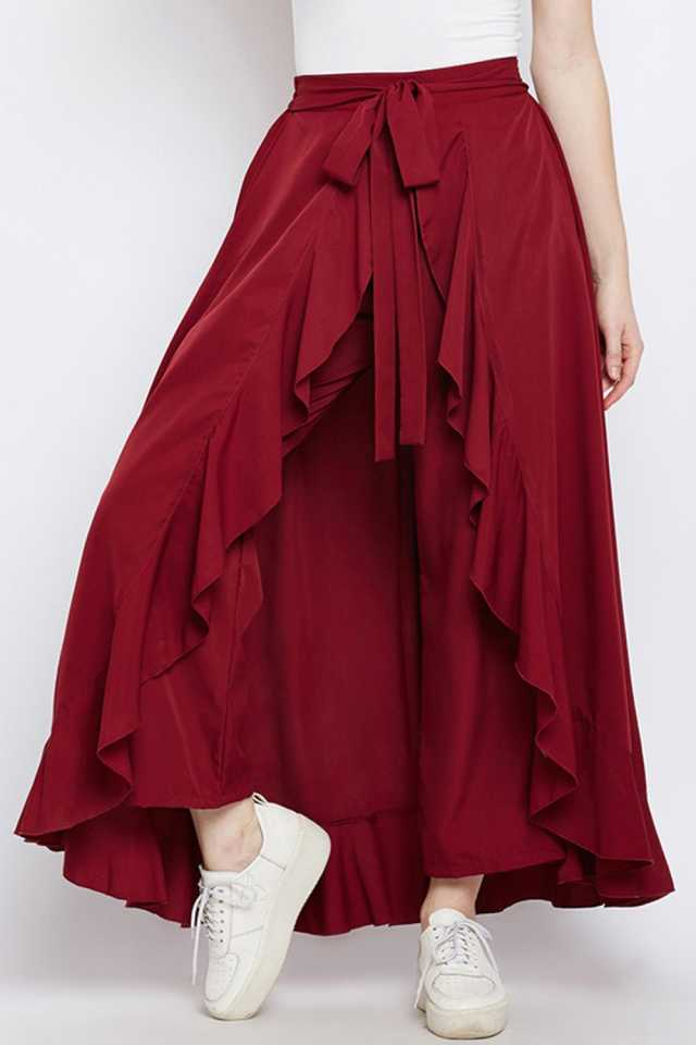 Women Western Wear Clothing Palazzo Royal Taylor Regular Fit Women Maroon Trousers