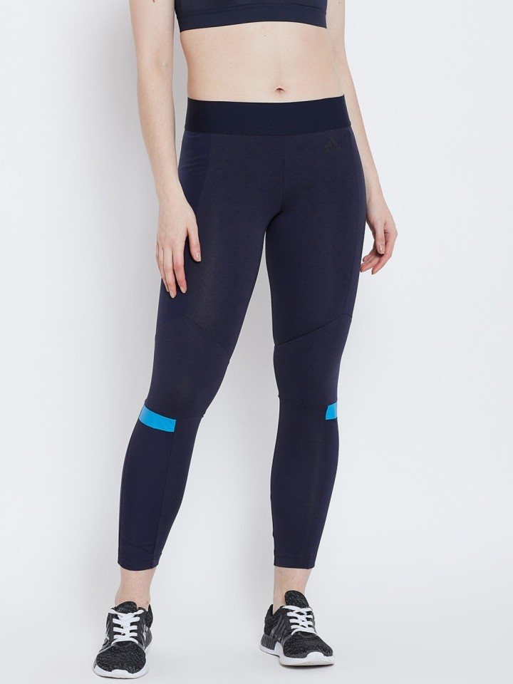 Adidas Solid Women Dark Blue Tights