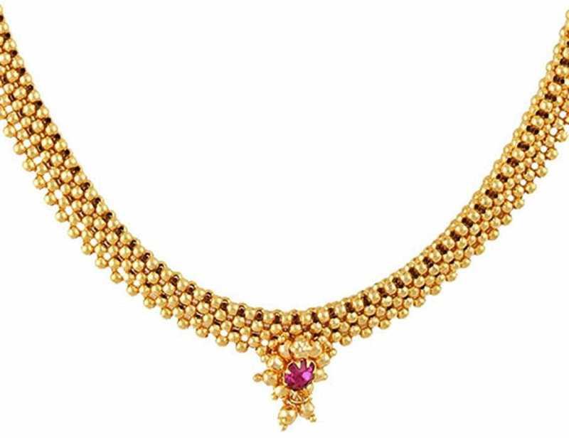 Meenaz Jewellery Gold Plated Traditional Maharashtrian Kolhapuri