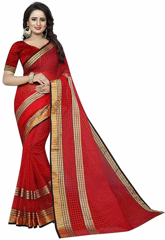 Self Design, Woven, Checkered Daily Wear Cotton Blend, Art Silk, Poly Silk, Cotton Silk Saree  (Red) thumbnail