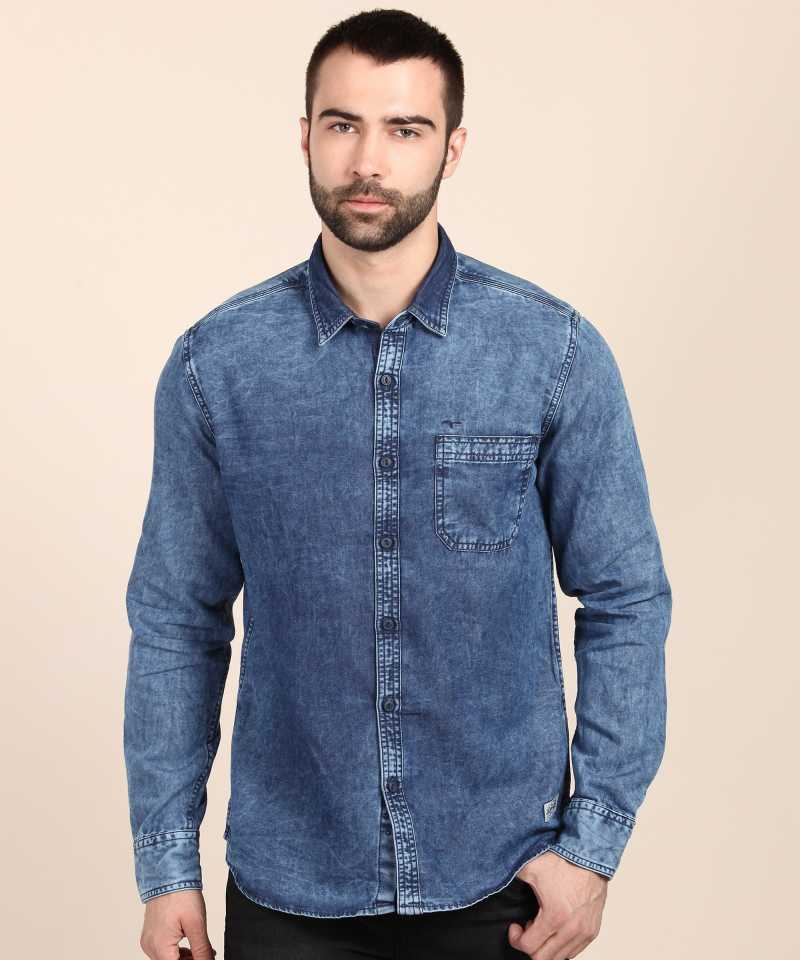 Flying Machine Men Solid Casual Spread Shirt