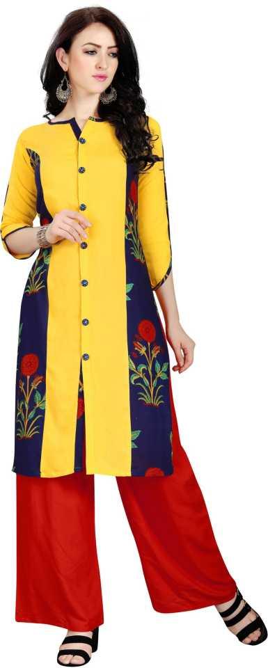 Piyaah Enterprise Women Embroidered Straight Kurta  (Yellow)