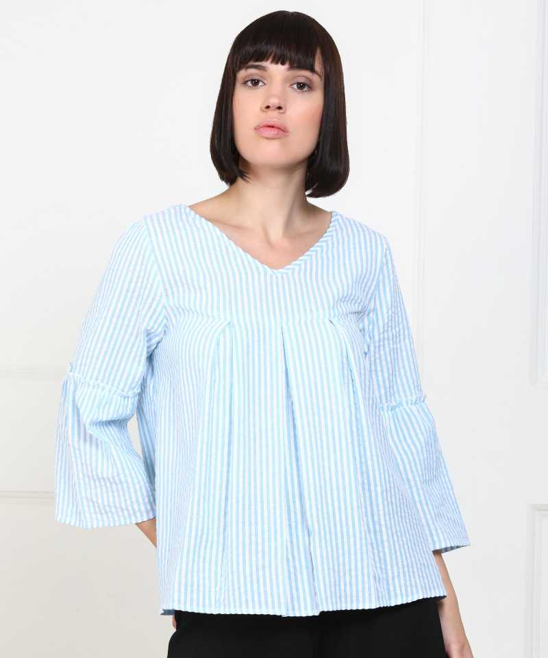 PROVOGUE  Casual Bell Sleeve Striped Women White, Blue Top