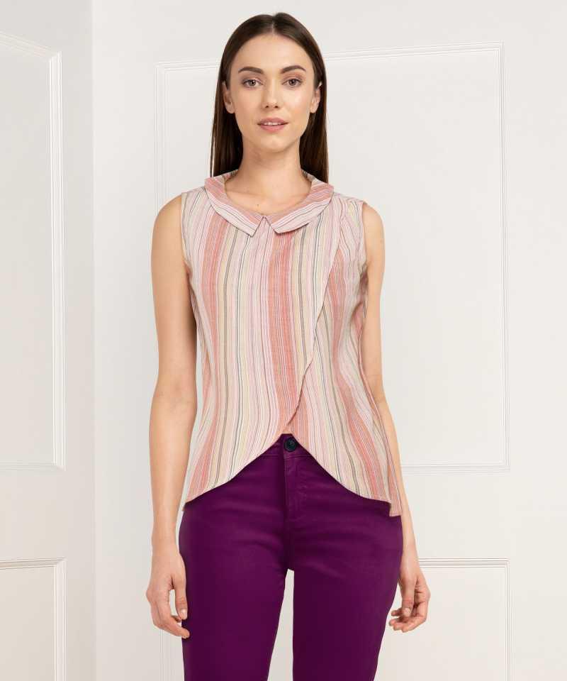PROVOGUE  Casual No Sleeve Striped Women Multicolor Top