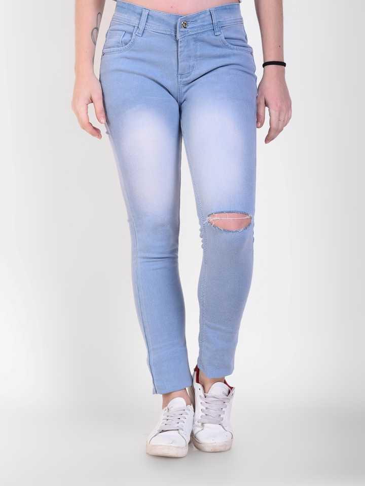 Crease   Clips Slim Women Light Blue Jeans