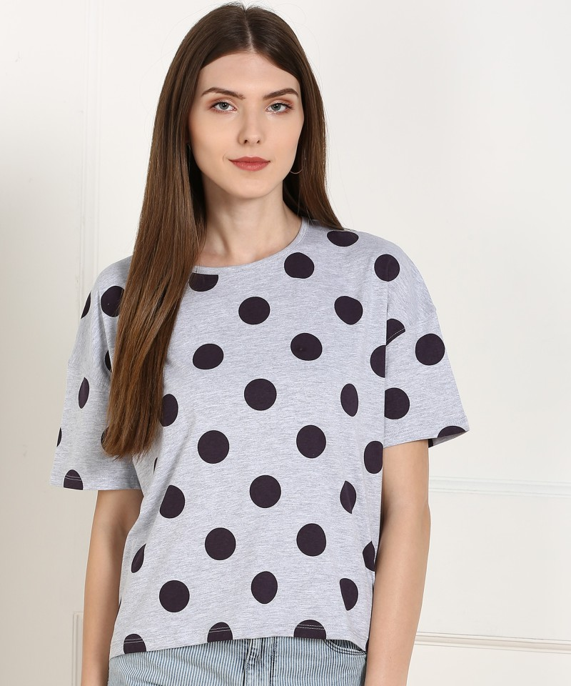 Flying Machine Polka Print Women Round Neck Grey T-Shirt