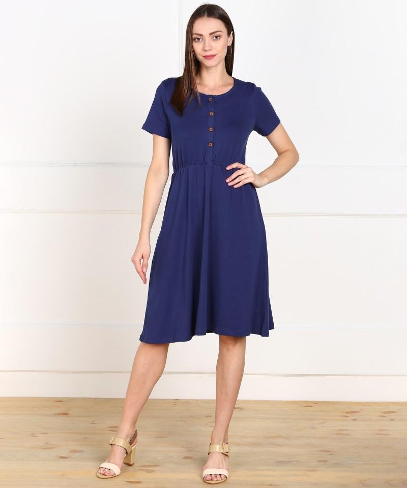 VAN HEUSEN  Women Gathered Blue Dress