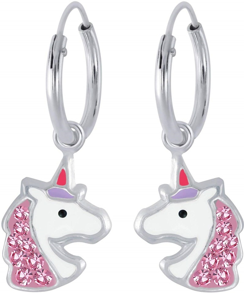 Girls Unicorn Crystal Ear Studs 925 Sterling Silver